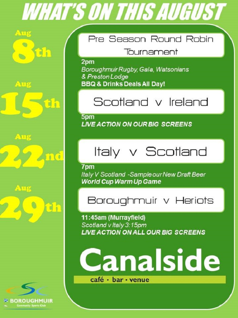 Whats on at Canalside Venue